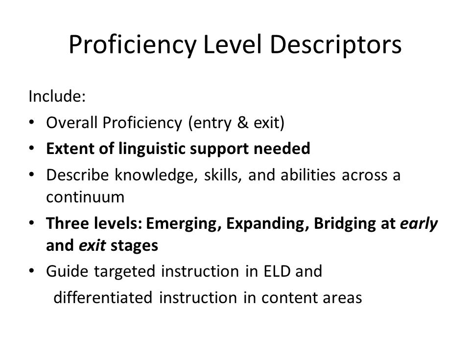 Proficiency Level Descriptors