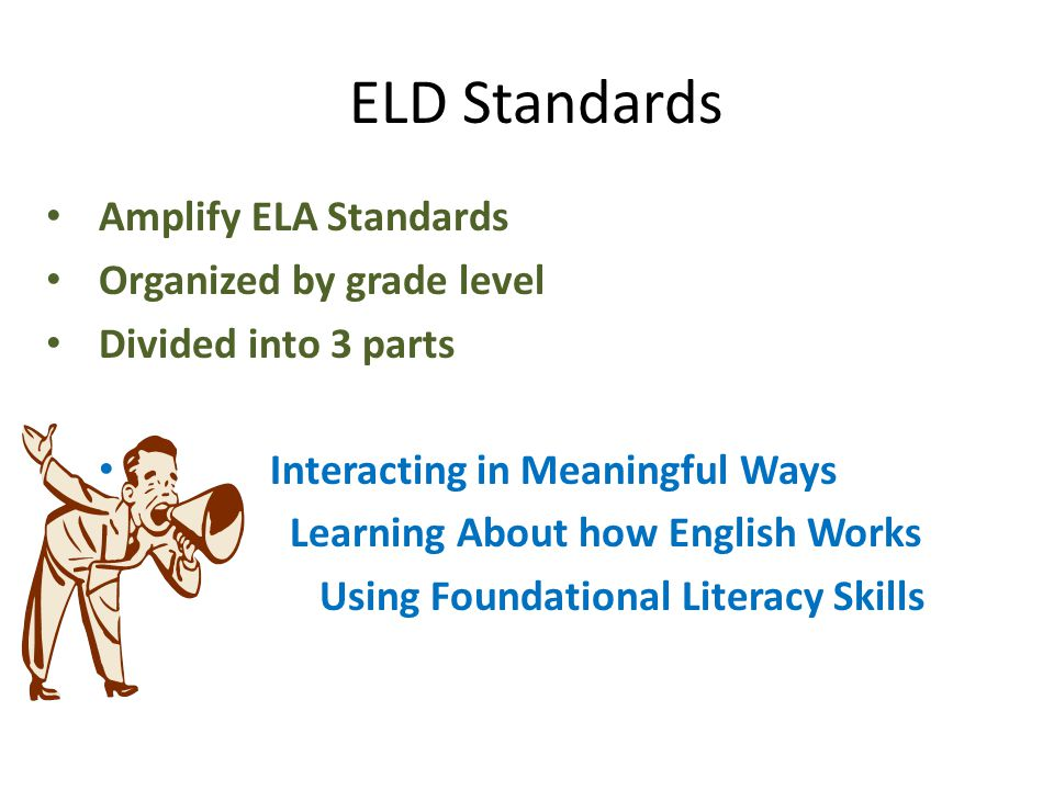 ELD Standards Amplify ELA Standards Organized by grade level
