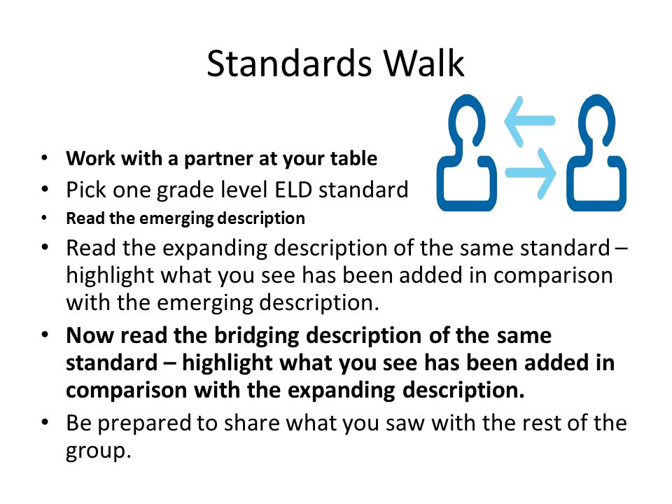 Standards Walk Pick one grade level ELD standard