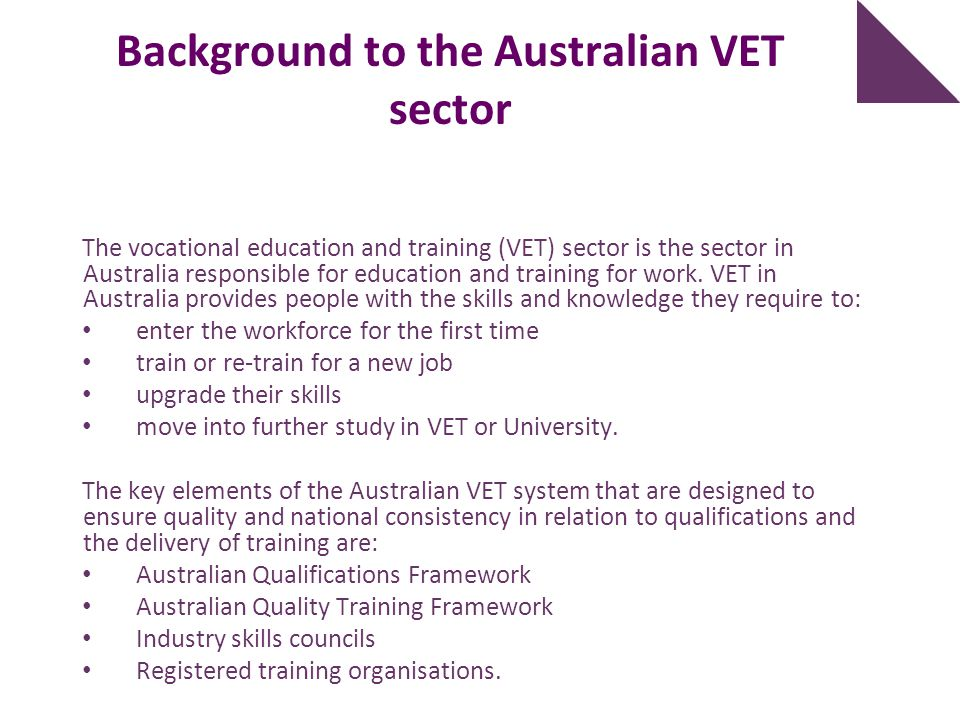 Background to the Australian VET sector