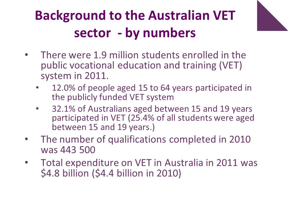 Background to the Australian VET sector - by numbers