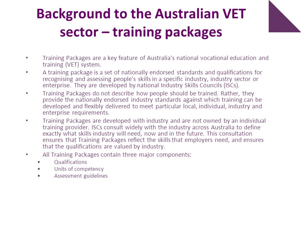 Background to the Australian VET sector – training packages
