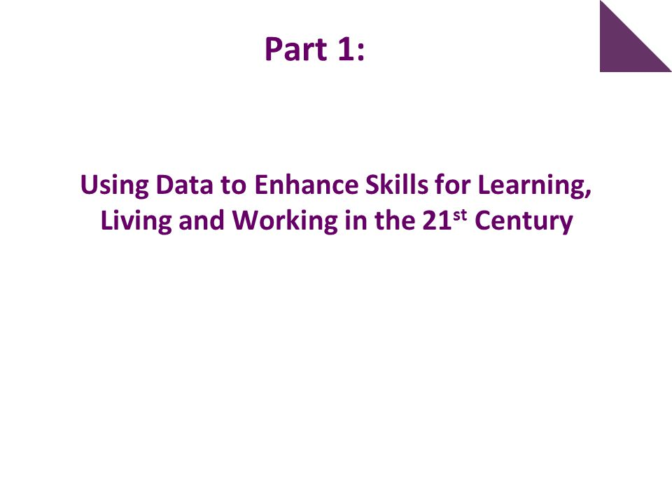 Part 1: Using Data to Enhance Skills for Learning, Living and Working in the 21st Century