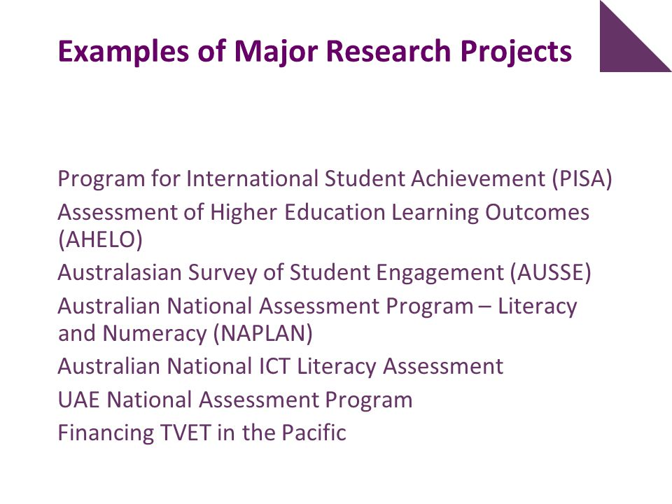 Examples of Major Research Projects