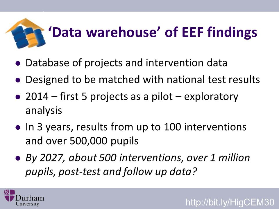'Data warehouse' of EEF findings