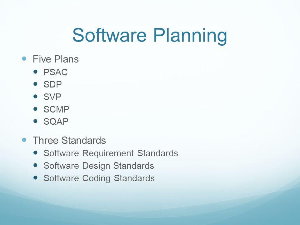 Software Planning Five Plans Three Standards PSAC SDP SVP SCMP SQAP