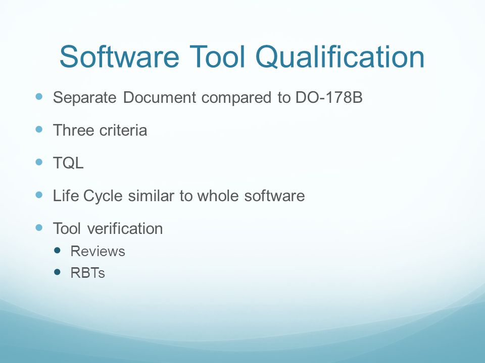 Software Tool Qualification