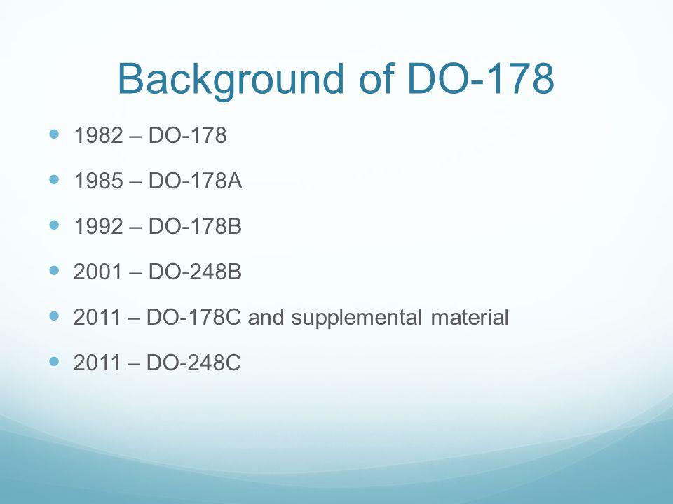 Background of DO-178 1982 – DO-178 1985 – DO-178A 1992 – DO-178B