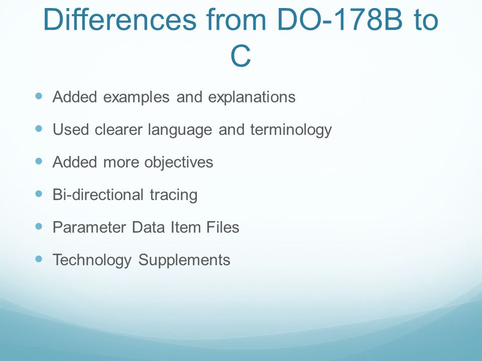 Differences from DO-178B to C