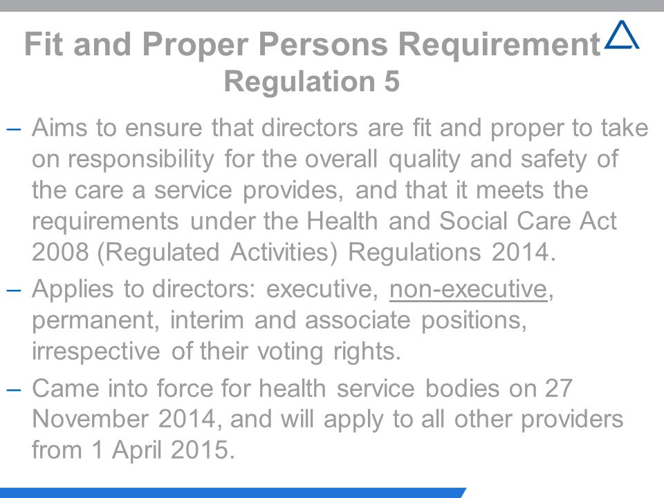 Fit and Proper Persons Requirement Regulation 5