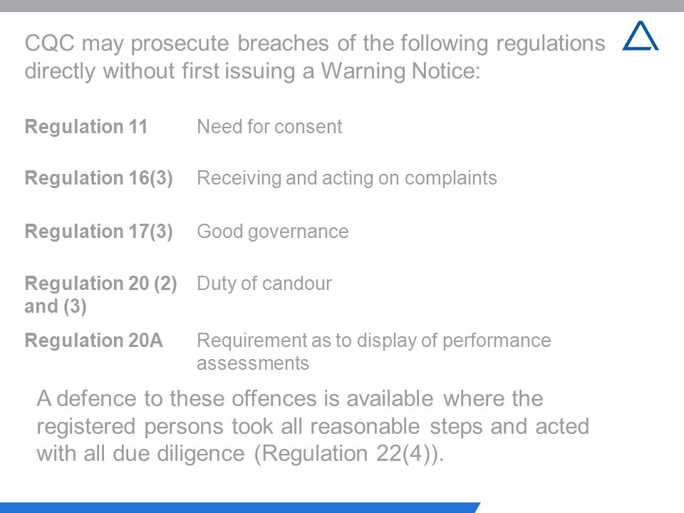 CQC may prosecute breaches of the following regulations directly without first issuing a Warning Notice: