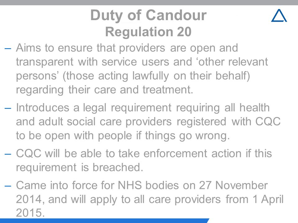 Duty of Candour Regulation 20