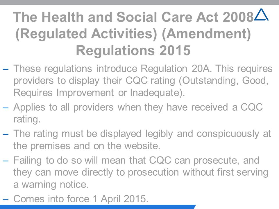 The Health and Social Care Act 2008 (Regulated Activities) (Amendment) Regulations 2015