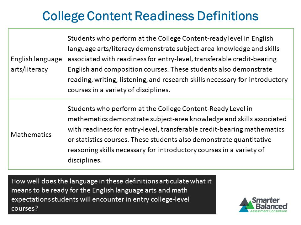 College Content Readiness Definitions