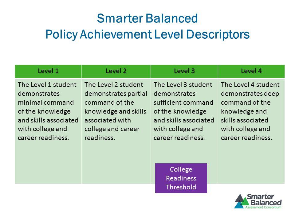 Smarter Balanced Policy Achievement Level Descriptors