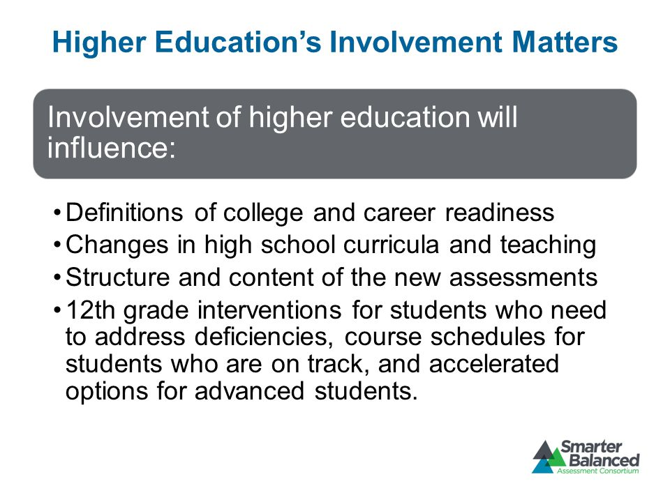 Higher Education's Involvement Matters