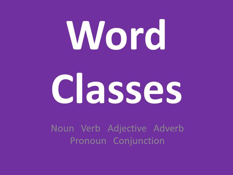 Noun Verb Adjective Adverb Pronoun Conjunction