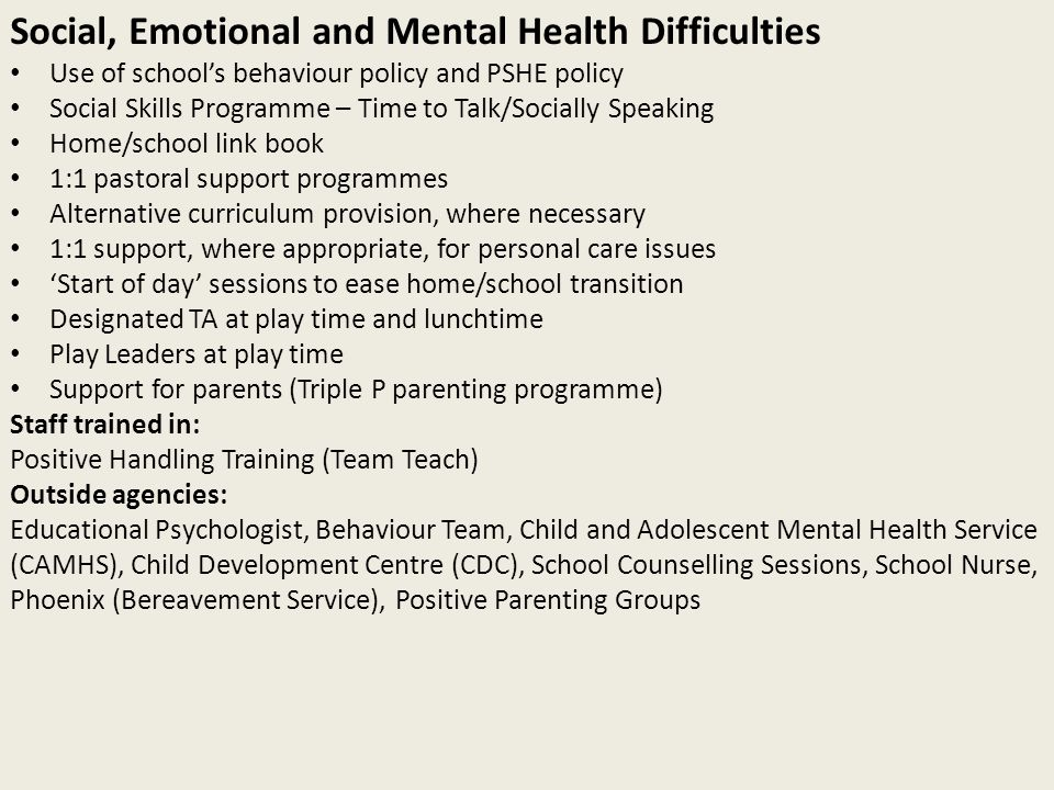 Social, Emotional and Mental Health Difficulties