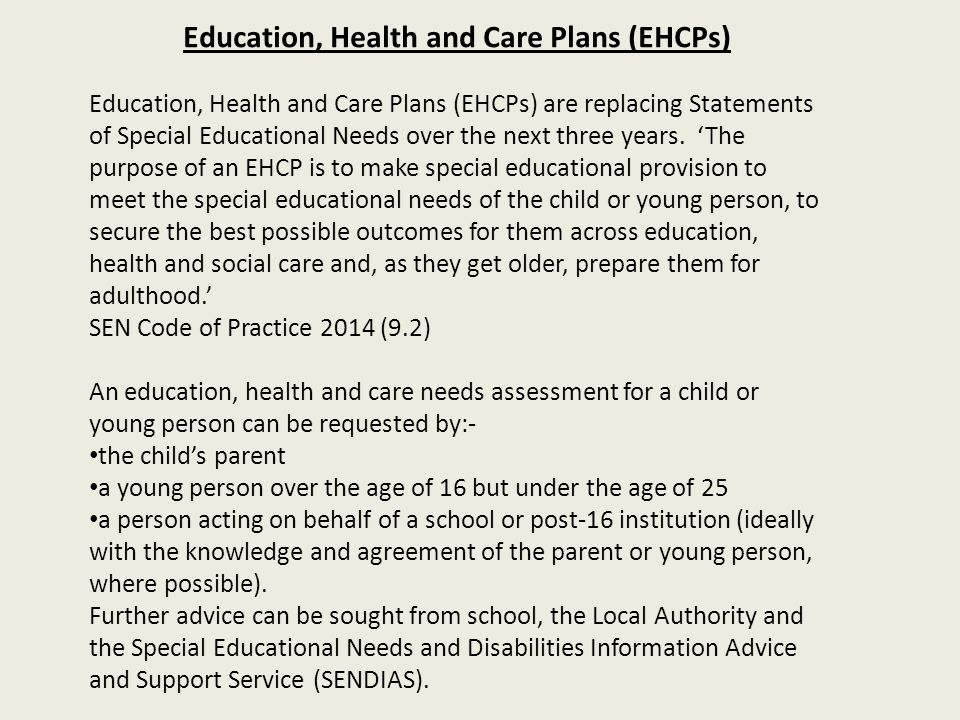 Education, Health and Care Plans (EHCPs)