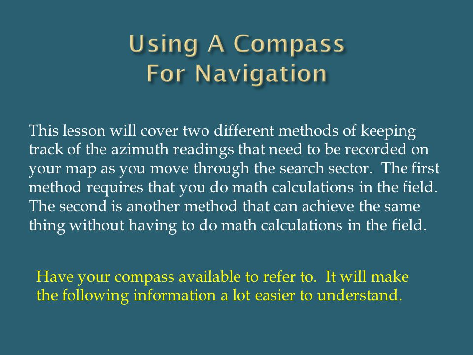 Using A Compass For Navigation
