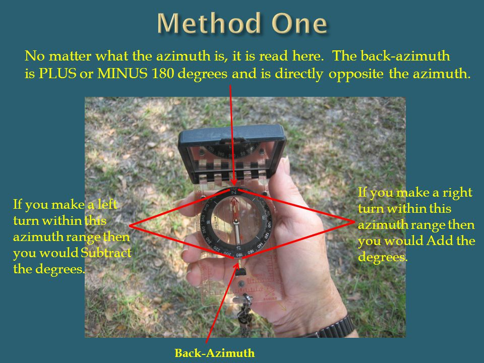 Method One No matter what the azimuth is, it is read here. The back-azimuth. is PLUS or MINUS 180 degrees and is directly opposite the azimuth.