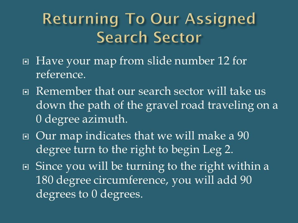 Returning To Our Assigned Search Sector