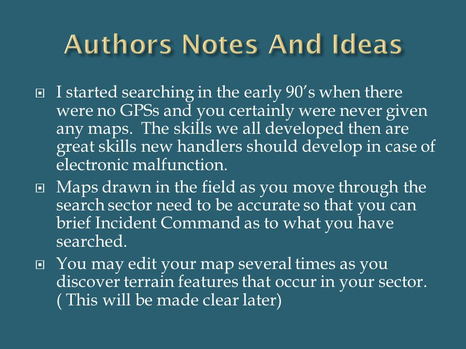 Authors Notes And Ideas