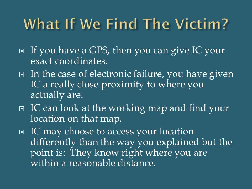 What If We Find The Victim