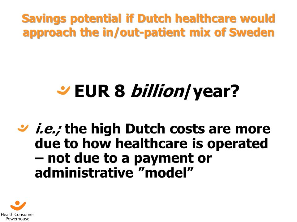 Savings potential if Dutch healthcare would approach the in/out-patient mix of Sweden