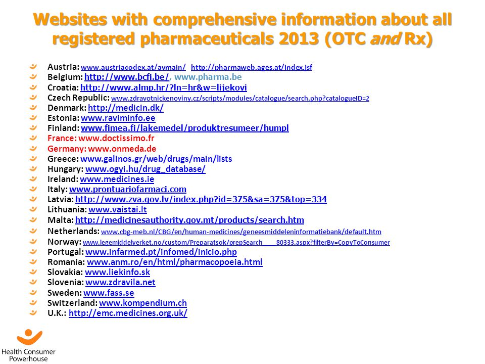 Websites with comprehensive information about all registered pharmaceuticals 2013 (OTC and Rx)