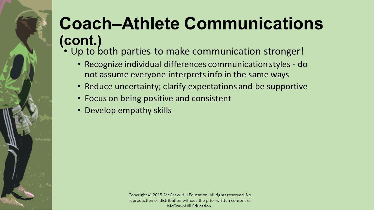 Coach–Athlete Communications (cont.)