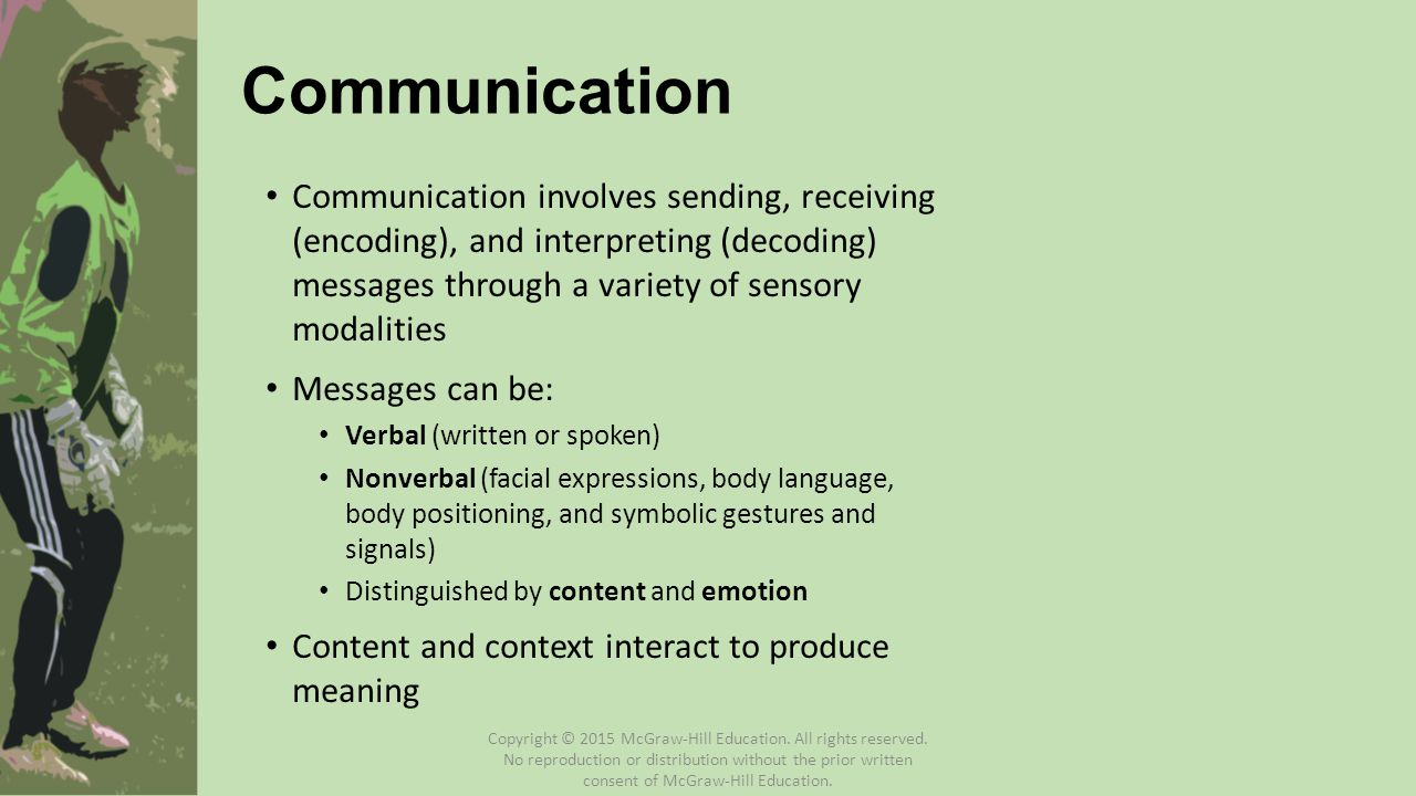 Communication Communication involves sending, receiving (encoding), and interpreting (decoding) messages through a variety of sensory modalities.