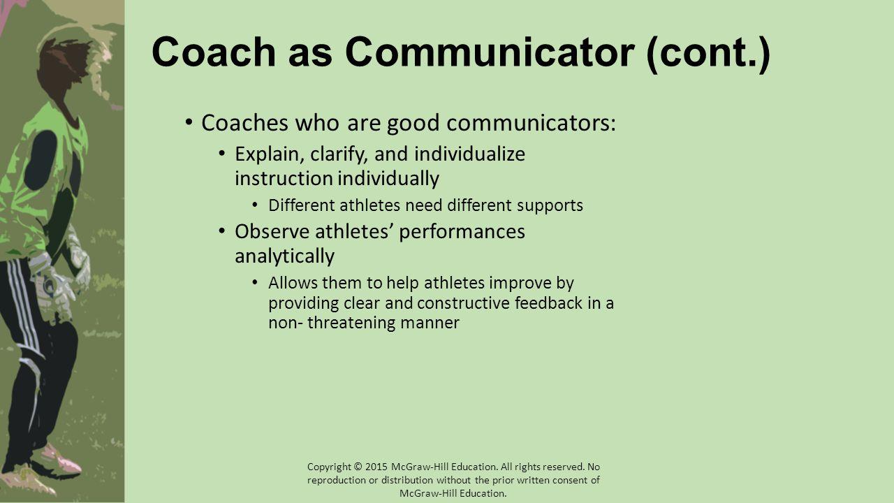 Coach as Communicator (cont.)
