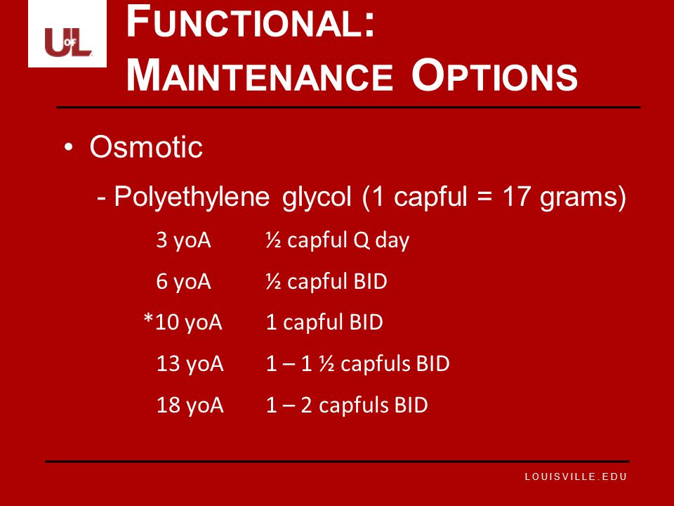 Functional: Maintenance Options