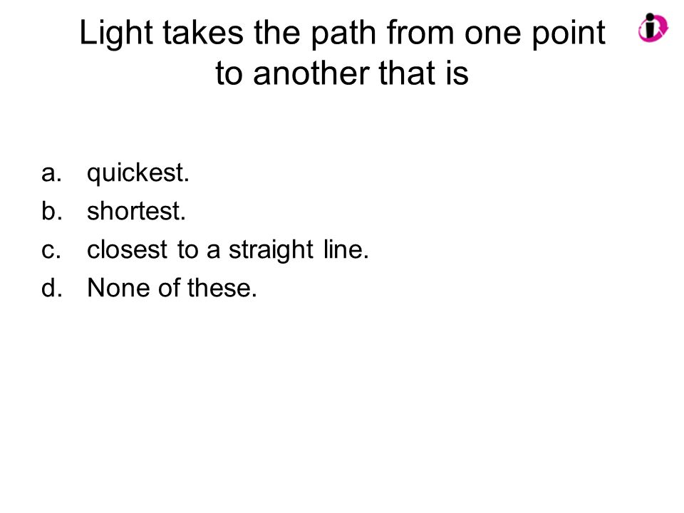 Light takes the path from one point to another that is