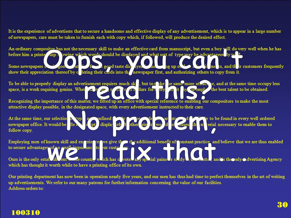 Oops, you can t read this No problem, we ll fix that...