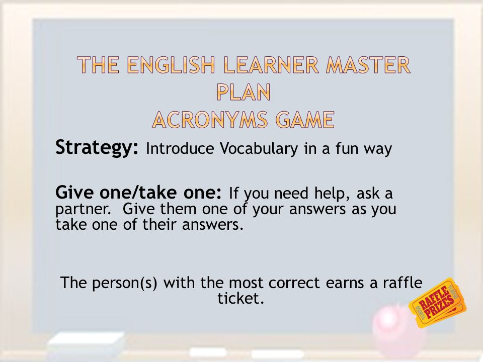 The English learner master plan Acronyms game