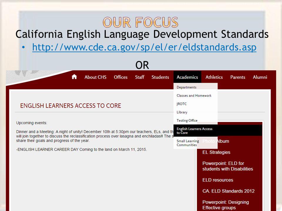California English Language Development Standards OR