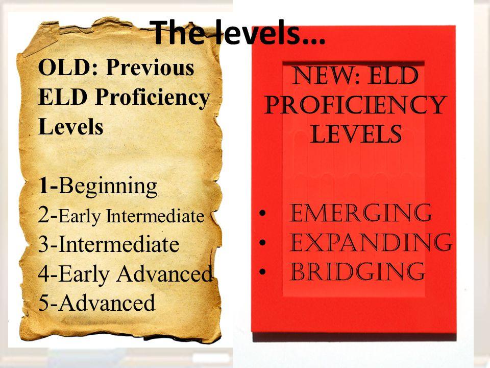 New: ELD proficiency Levels