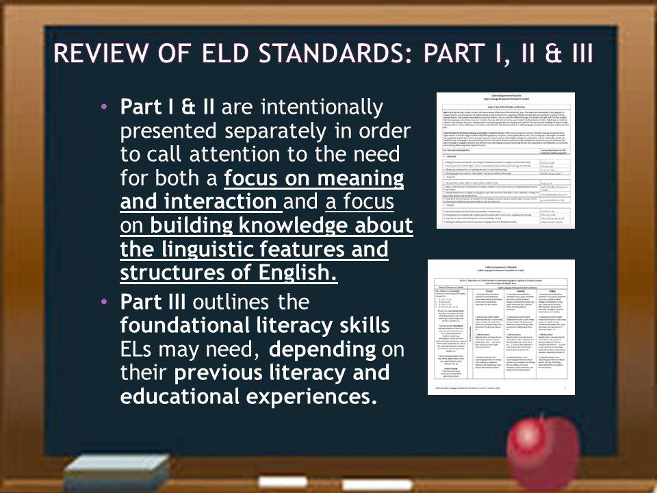 Review of ELD Standards: Part I, II & III