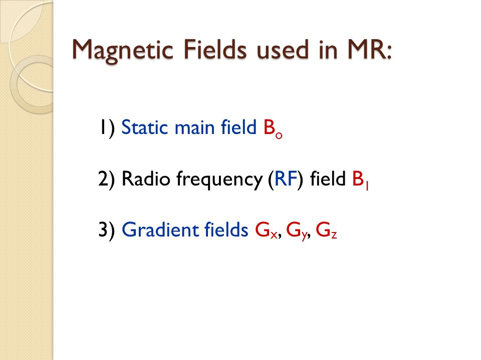Magnetic Fields used in MR: