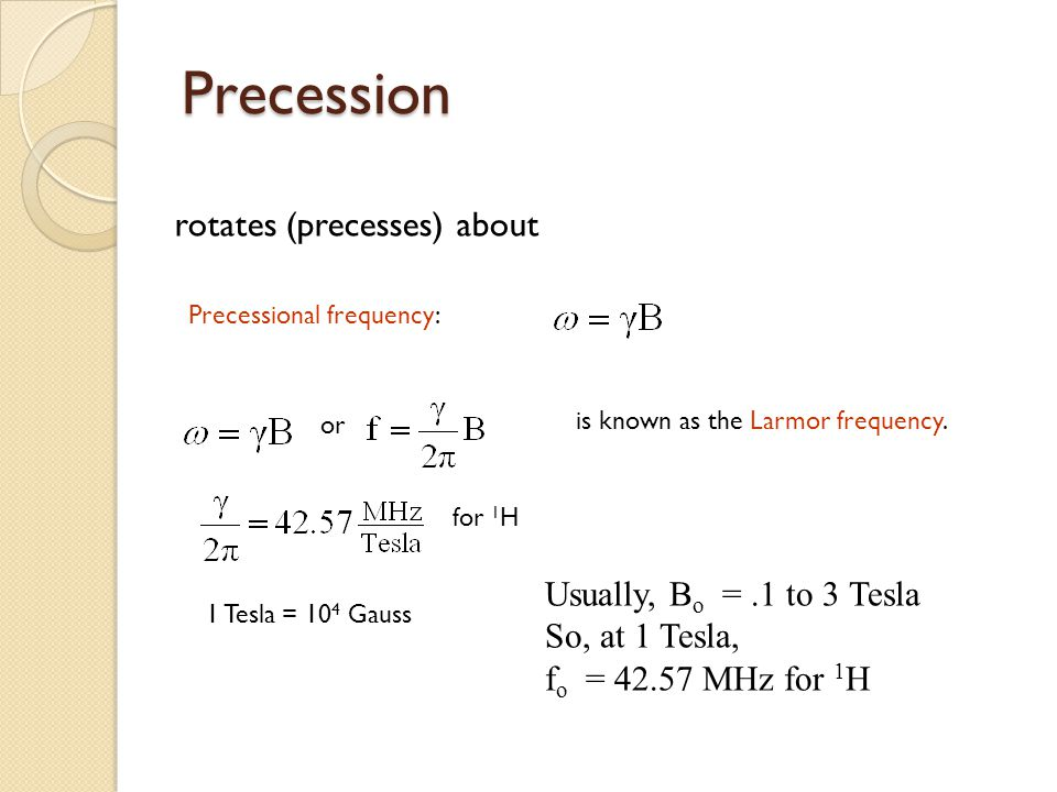 Precession rotates (precesses) about Usually, Bo = .1 to 3 Tesla