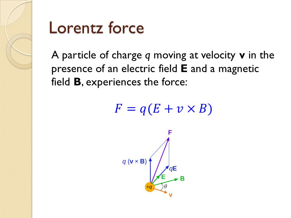 Lorentz force 𝐹=𝑞(𝐸+𝑣×𝐵)