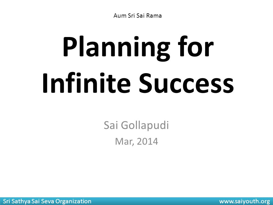 Planning for Infinite Success