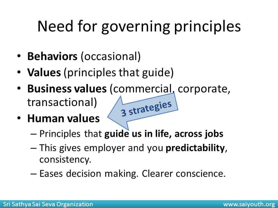 Need for governing principles