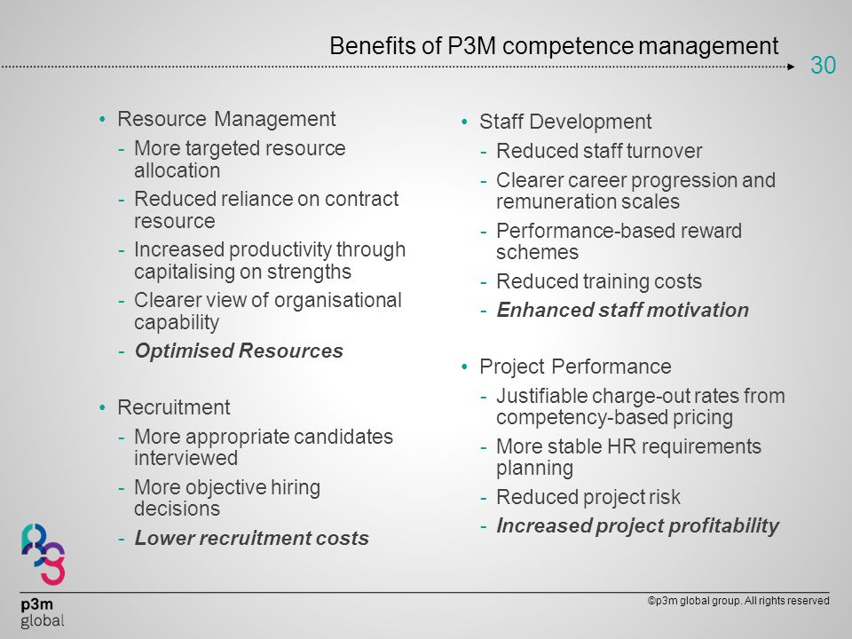 Benefits of P3M competence management