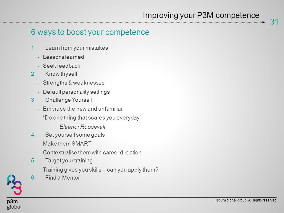 Improving your P3M competence