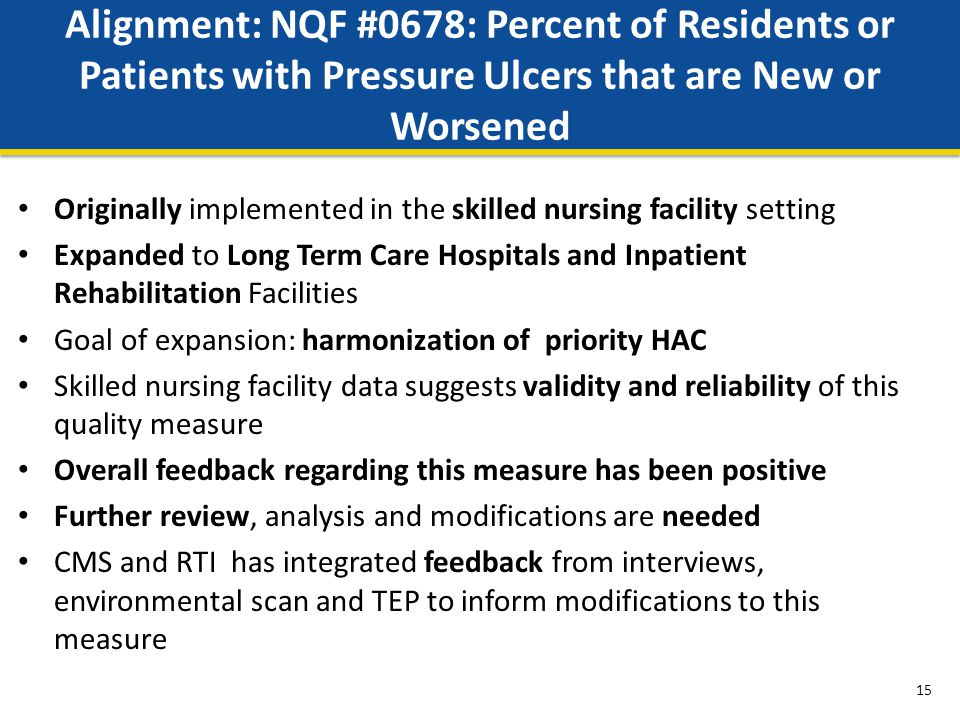 Alignment: NQF #0678: Percent of Residents or Patients with Pressure Ulcers that are New or Worsened