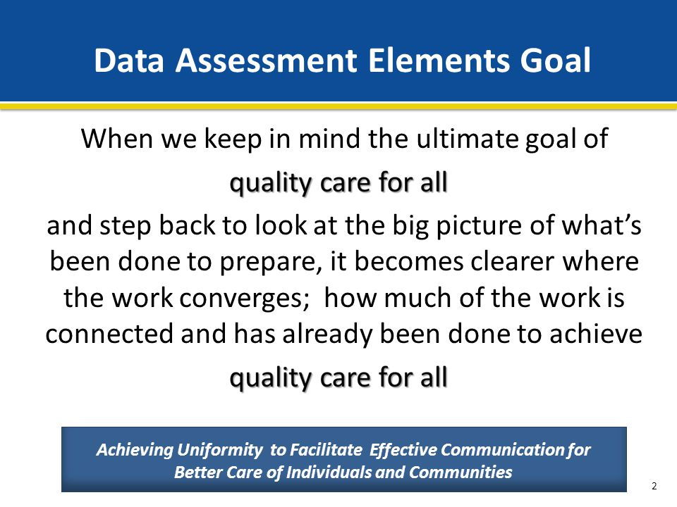 Data Assessment Elements Goal