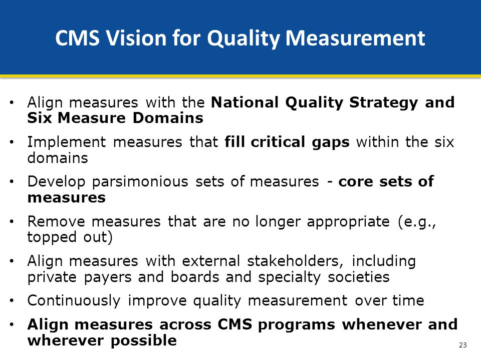 CMS Vision for Quality Measurement